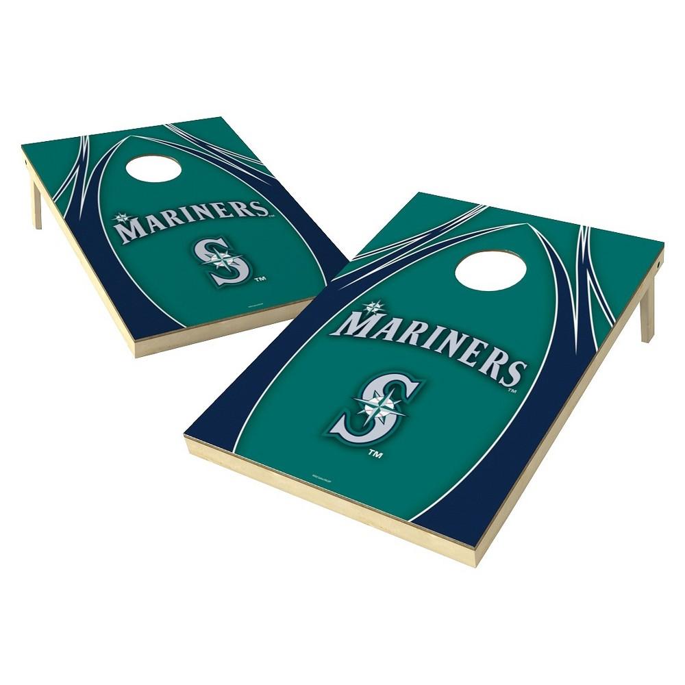 Seattle Mariners Wild Sports V Logo Shield Cornhole Bag Toss Set - 2x3 ft.