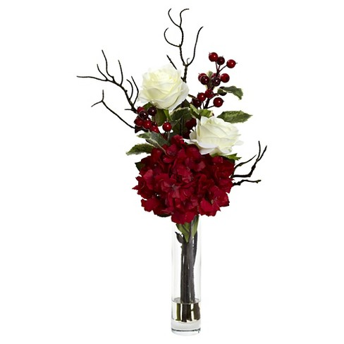 Merry Christmas Rose Hydrangea Arrangement - Nearly Natural - image 1 of 4