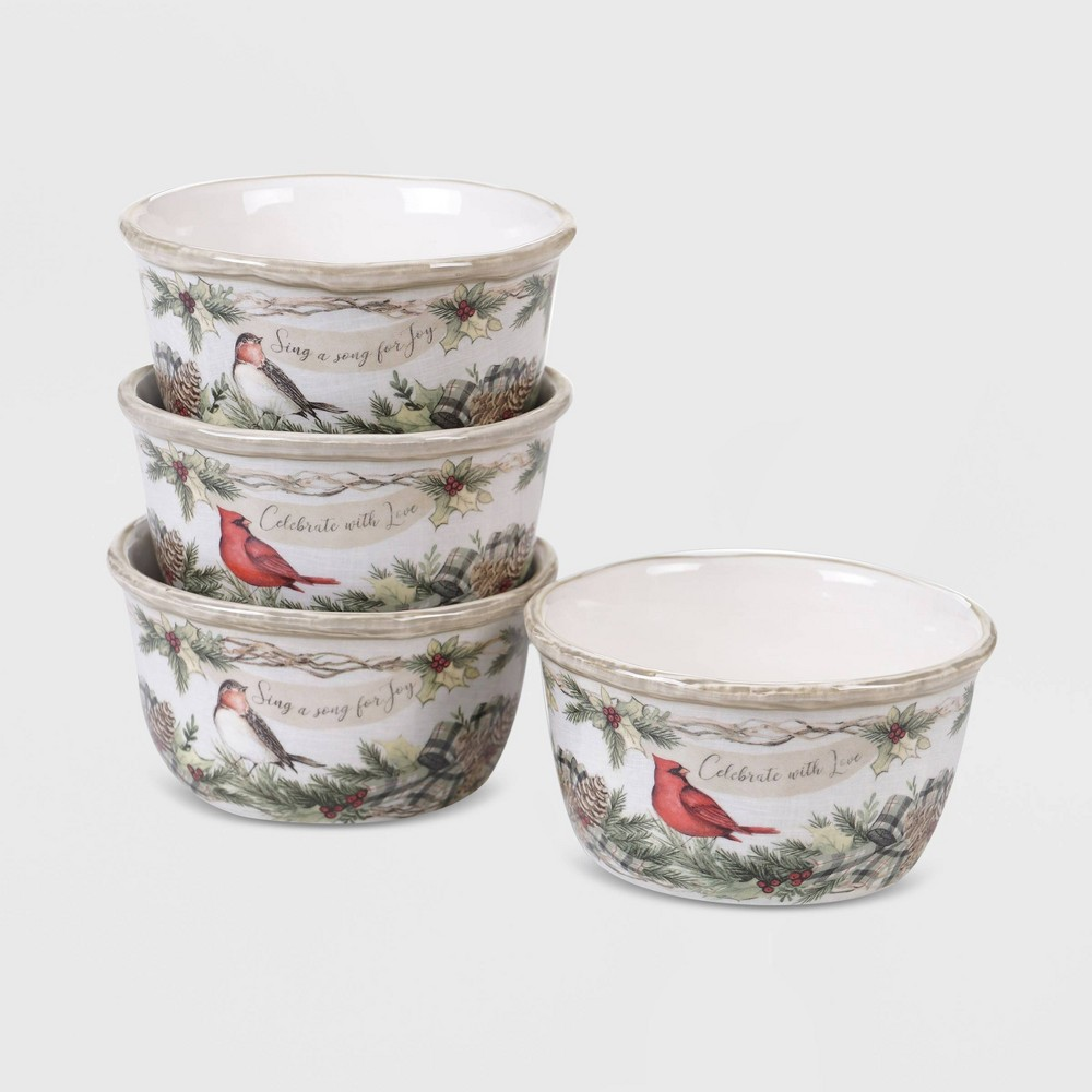 Image of 20oz 4pk Earthenware Holly and Ivy Dessert Bowls White - Certified International