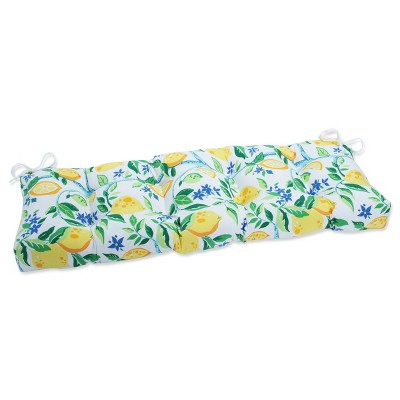 """48"""" x 18"""" Outdoor/Indoor Tufted Bench/Swing Cushion Lemon Tree Yellow - Pillow Perfect"""