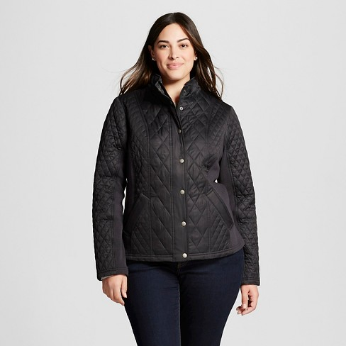 Women's Plus Size Quilted Jacket With Ribbing - Ava & Viv™ - image 1 of 2