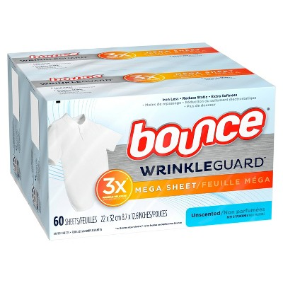Bounce WrinkleGuard Mega Dryer Sheets Fabric Softener and Wrinkle Releaser Sheets - Unscented - 120ct