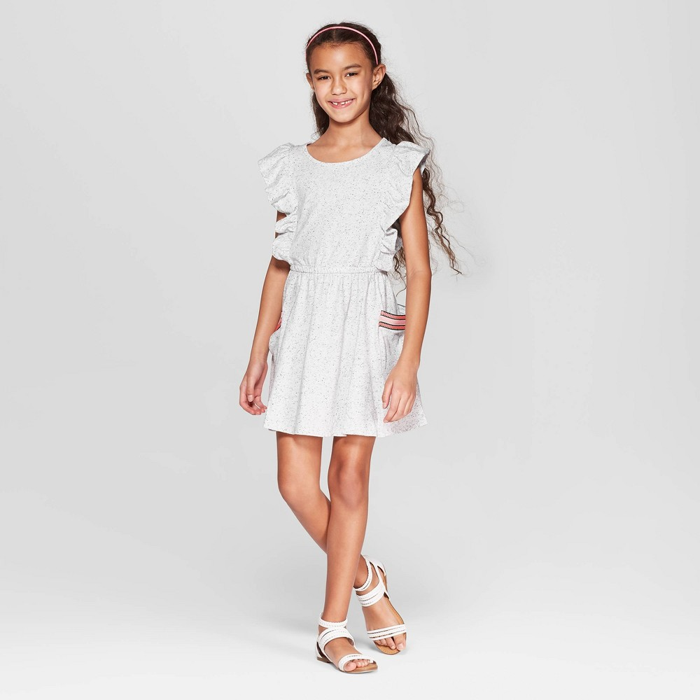 Girls' A Line Dress - Cat & Jack Cream L, Beige
