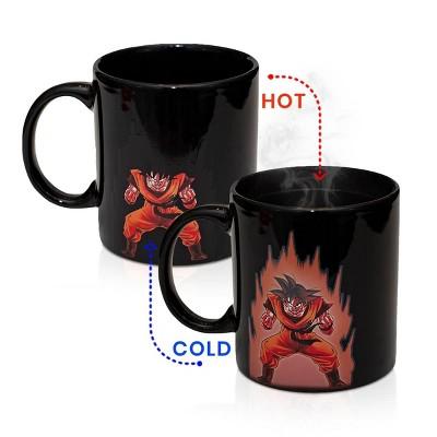 Surreal Entertainment Dragon Ball Z Custom Goku Symbol Heat reactive Mug |Black Ceramic