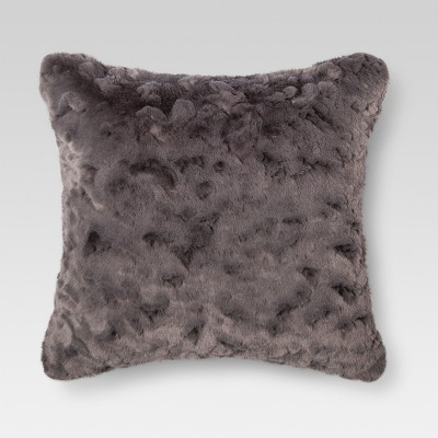 Gray Faux Fur Square Throw Pillow - Threshold™