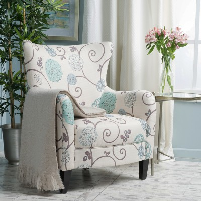 High Quality Arabella Club Chair   White/Blue Floral  Christopher Knight Home : Target