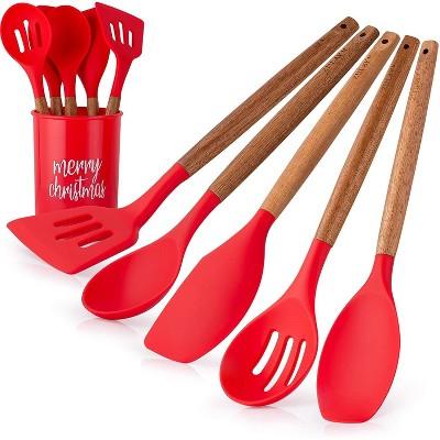Zulay Kitchen Silicone Spatula - Christmas Red