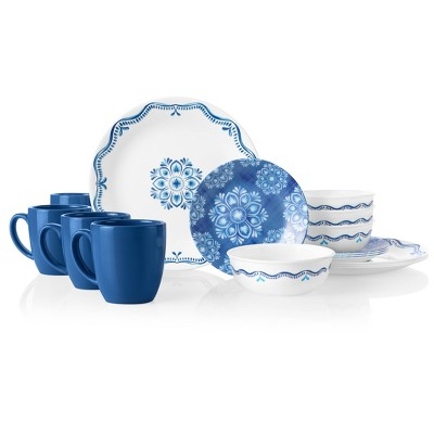 Corelle Signature 16pc Glass Lisbon Terrace Dinnerware Set