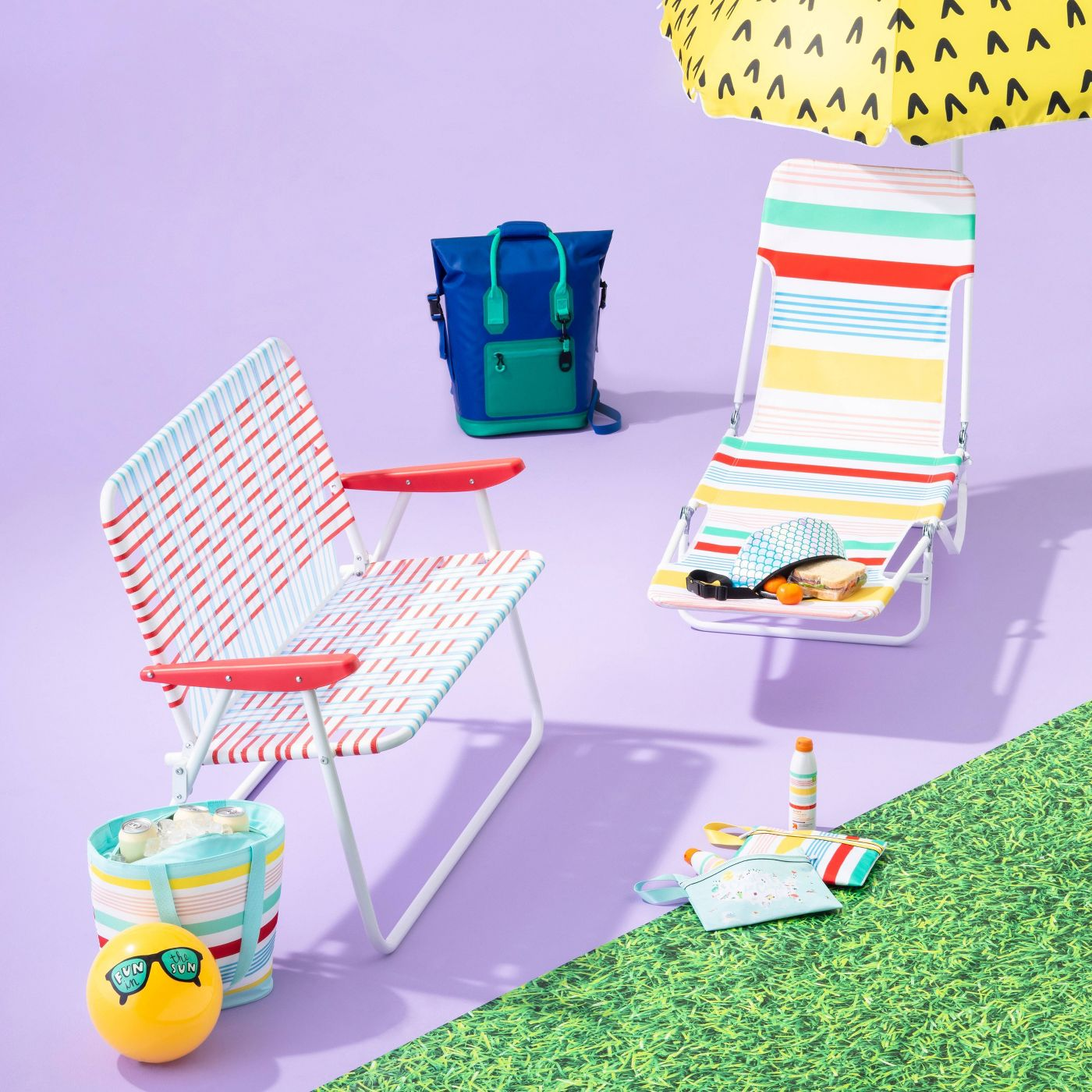 Variegated Stripe Outdoor Beach Lounger - Red/Yellow/Blue - Sun Squad™ - image 4 of 4