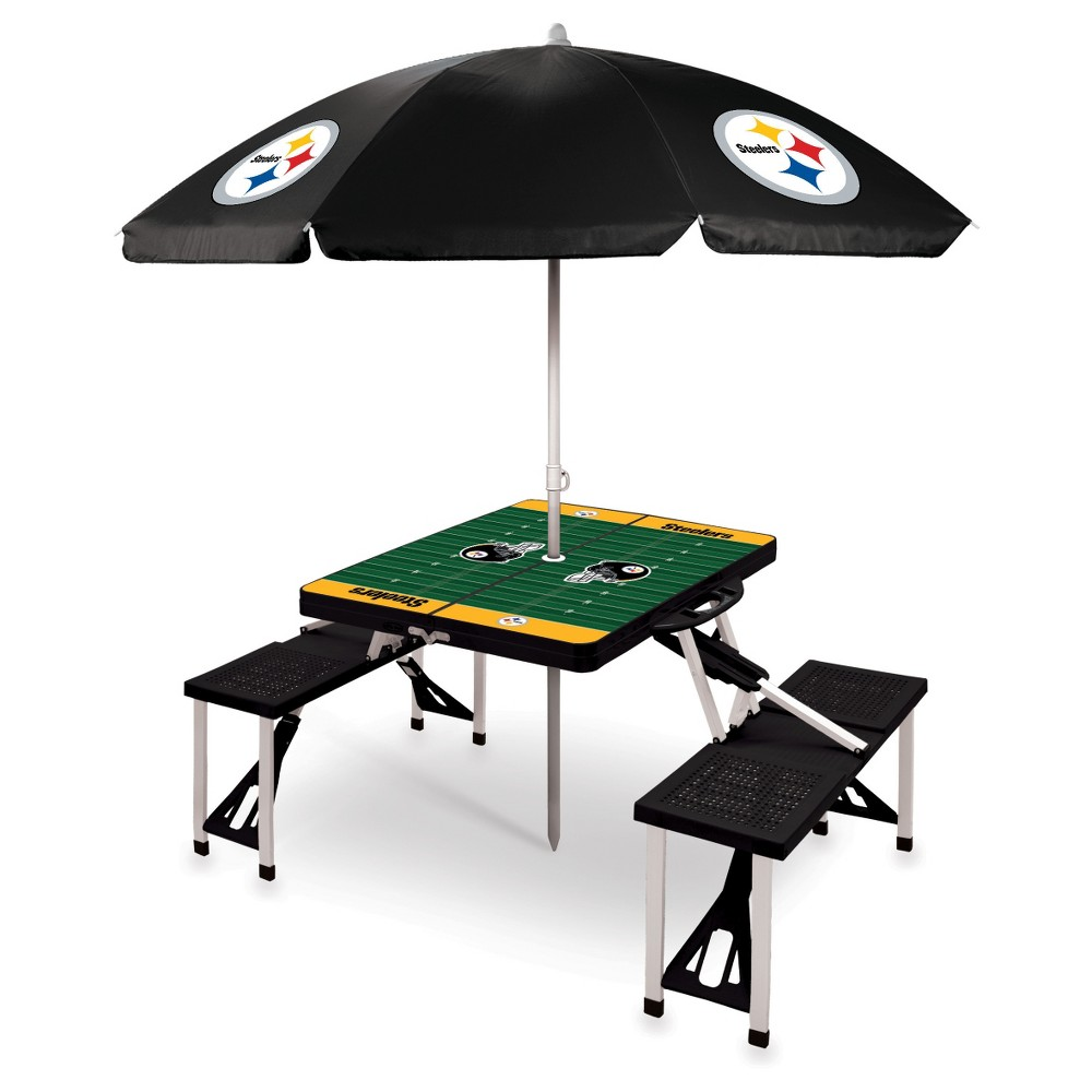 Pittsburgh Steelers Picnic Table Sport with Umbrella by Picnic Time - Black