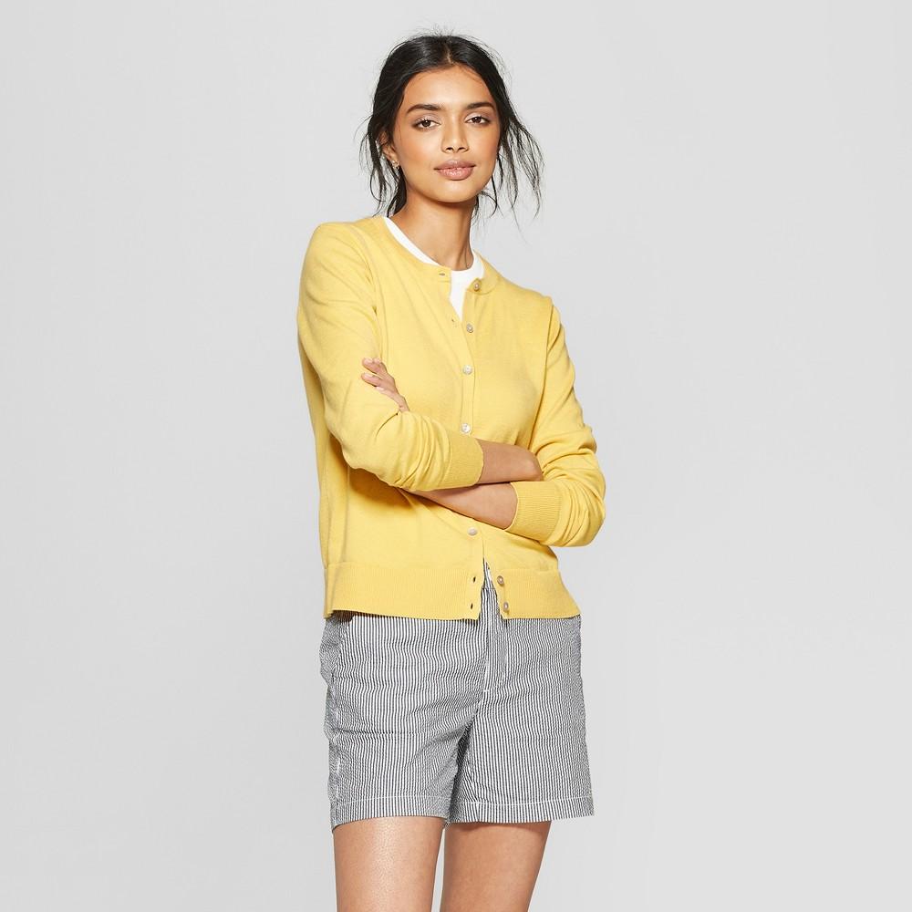 Women's Long Sleeve Crewneck Cardigan - A New Day Yellow L