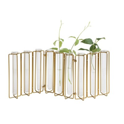 9 Test Tube Vases in a Single Gold Metal Stand - 3R Studios