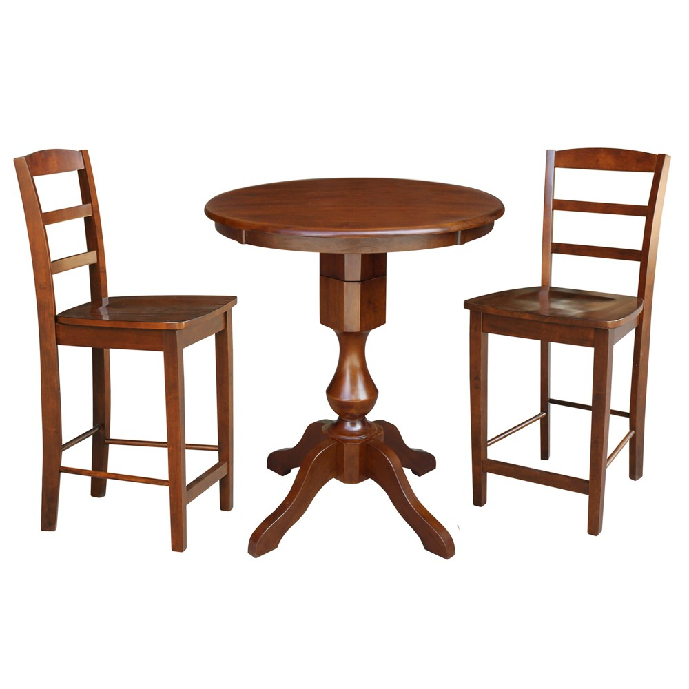 30 3pc George Round Pedestal Gathering Height Table with 2 Stools Set Espresso - International Concepts, Brown