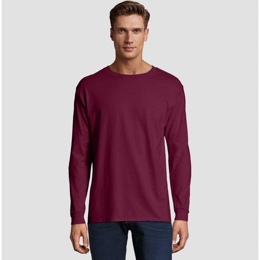 Hanes Men's Big & Tall Long Sleeve Beefy T-Shirt - Maroon (Red) 3XL