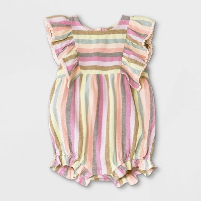 Baby Girls' Striped Woven Ruffle Leg Romper - Cat & Jack™ 3-6M