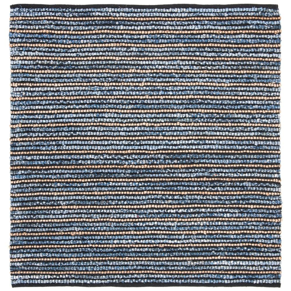6'X6' Woven Stripe Square Area Rug Blue/Natural - Safavieh