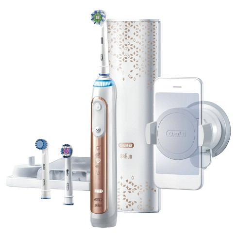 Oral-B Genius 8000 Rose Gold Electric Rechargeable Toothbrush with 3 Brush  Heads Bluetooth Connectivity and Travel Case Powered by Braun