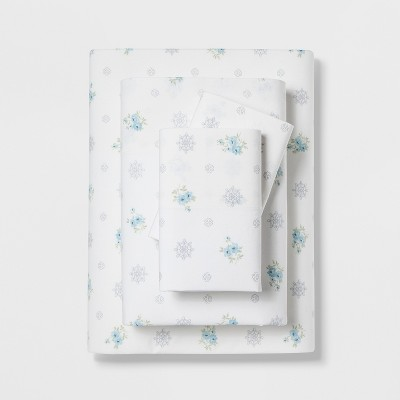 King Cotton Floral Medallion Print Sheet Set White/Blue- Simply Shabby Chic®