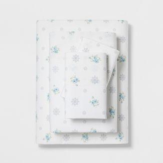 King Cotton Floral Medallion Print Sheet Set White/Blue- Simply Shabby Chic®