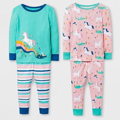 Baby Girls' Unicorn 4pc Pajama Set - Cat & Jack™ Peach 12M