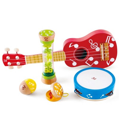 Hape E0339 Kids Toddler Preschool 5 Piece Wooden Musical Instrument Toy Mini Band Set with Ukulele, Tambourine, Clapper, Rattle, and Rain Stick