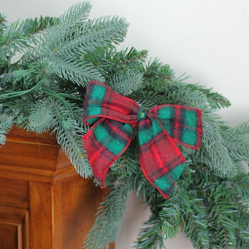 Northlight Pack of 6 Red and Green Plaid Wool Mini Christmas Bow Decorations 5""