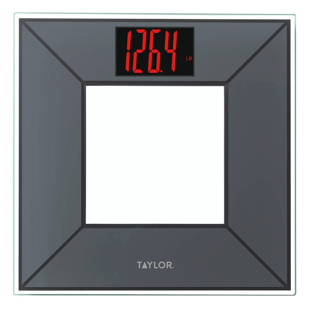 Image of Digital Glass Weighing Scale Charcoal/Red - Taylor