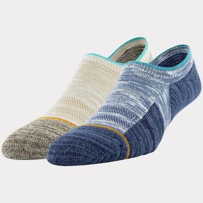 Signature Gold by GOLDTOE Men's Native Nomad Invisible Sneakers Slub Socks 2pk - Denim