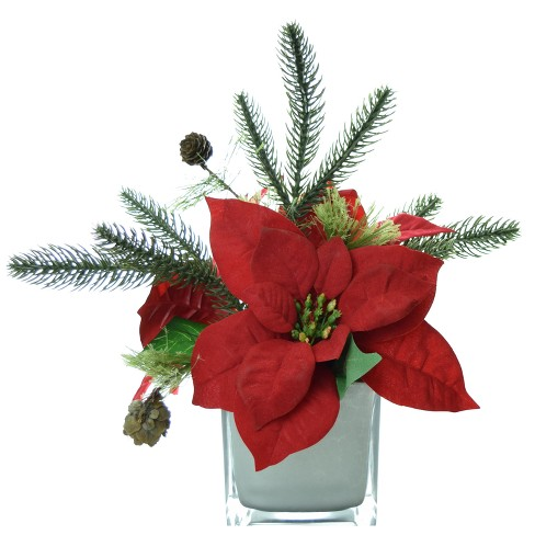 """Artificial Poinsettia Arrangement with Silver Glass Cube Vase Red 9"""" - LCG Florals - image 1 of 1"""