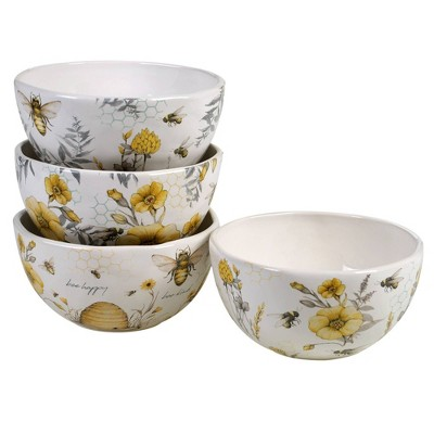 26oz 4pk Earthenware Sweet As A Bee Ice Cream Bowls - Certified International