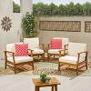 Perla 4pk Acacia Wood Club Chairs - Teak/Cream - Christopher Knight Home - image 2 of 4