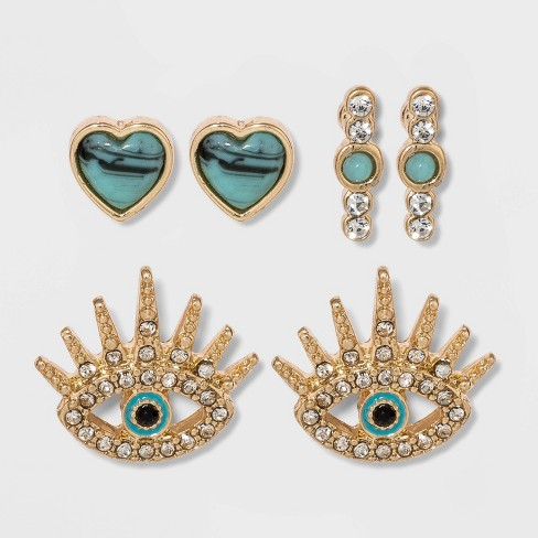 SUGARFIX by BaubleBar Eclectic Stud Earring Set - Turquoise - image 1 of 2
