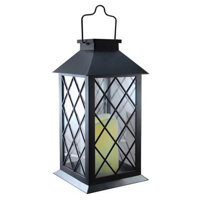 Solar Powered Tudor Lantern with LED Candle Black - LumaBase
