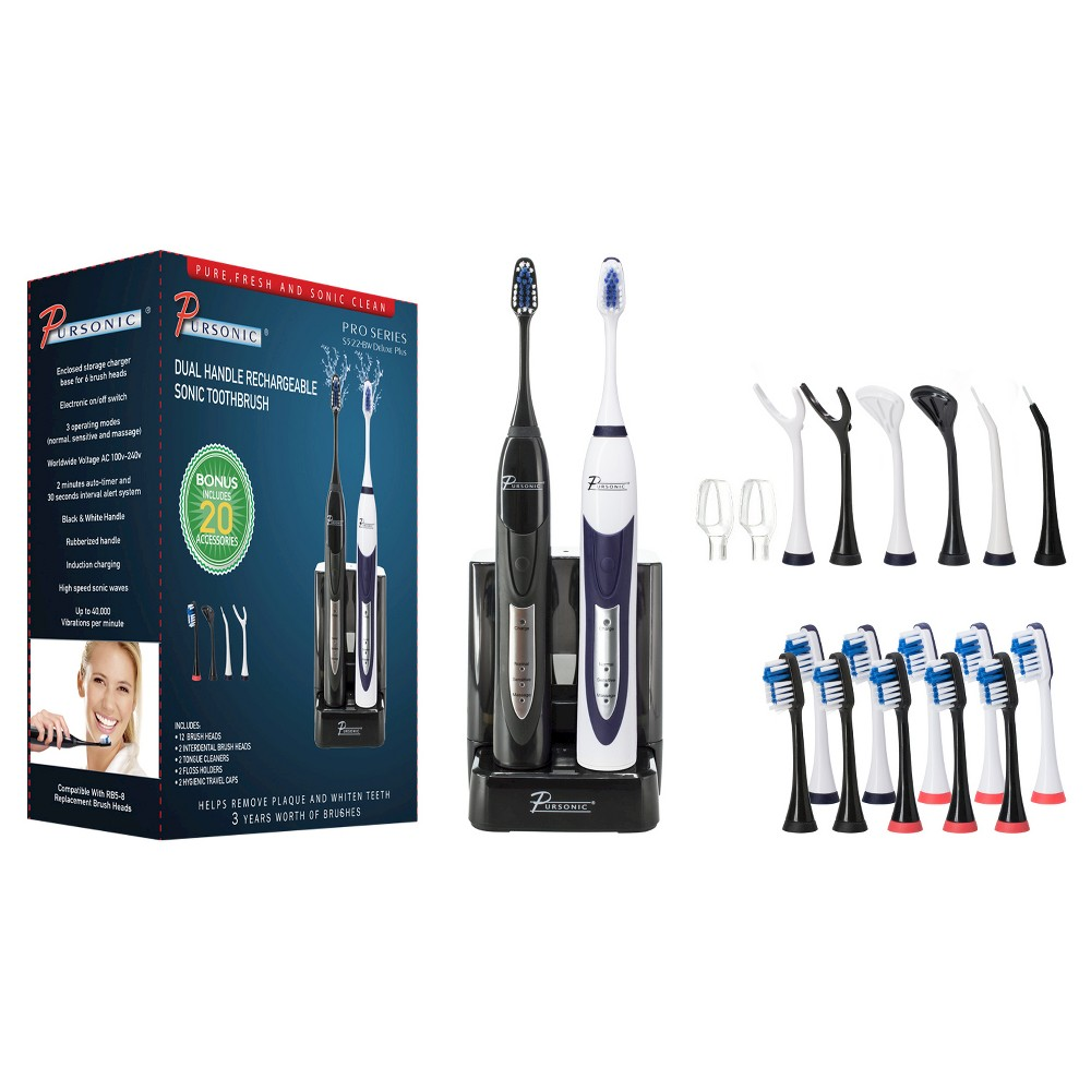 Pursonic Dual Handle Rechargeable Electric Toothbrush with 12 Brush Heads - S522-BW