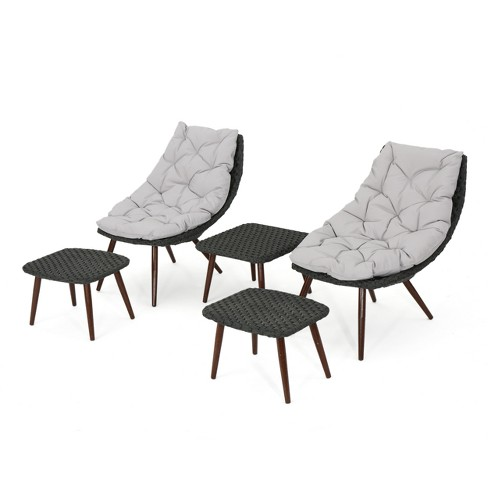 Caledonia 5pc Wicker Chat Set - Gray/Dark Brown - Christopher Knight Home - image 1 of 4