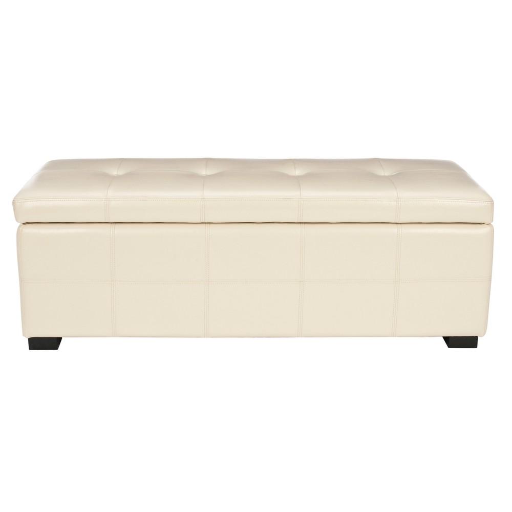 Maiden Large Tufted Storage Bench - Creme - Safavieh, Flat Cream