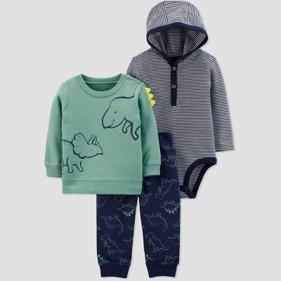 Baby Boys' 3pc Dino Crew Hooded Bodysuit Top & Bottom Sets - Just One You® made by carter's Green/Navy 6M