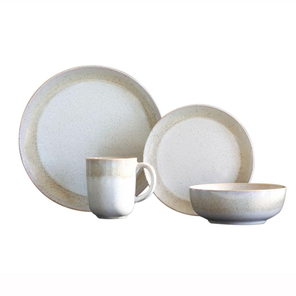 Image of 16pc Stoneware Marina Dinnerware Set Beige/White Baum Bros.
