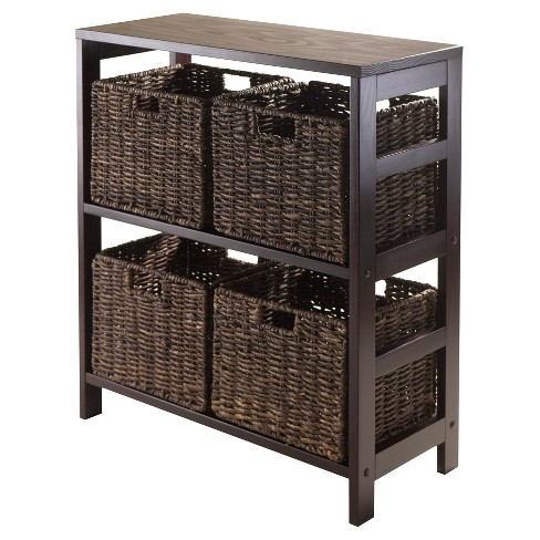 Granville 5 Piece Set Storage Shelf with Baskets   - Espresso, Chocolate - Winsome - image 1 of 2