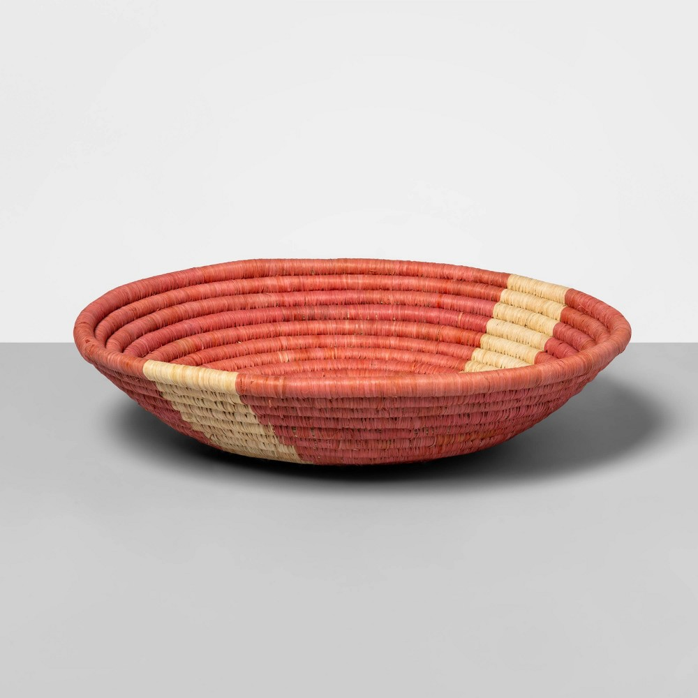 "Image of ""12"""" x 4.7"""" Hand Woven Raffia Bowl Pink - All Across Africa for Opalhouse , Beige"""