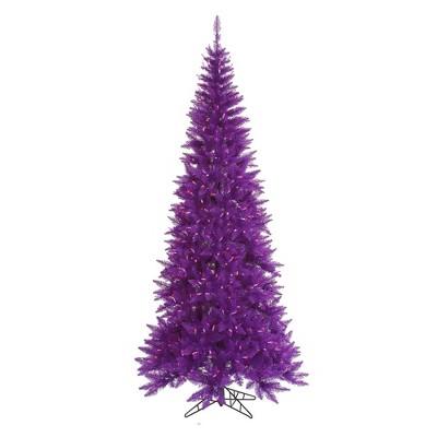 Vickerman 10' Prelit Artificial Christmas Tree Slim Purple Ashley Spruce - Clear/Purple Lights