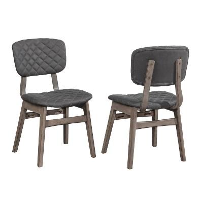 Set of 2 Alden Bay Modern Diamond Stitch Upholstered Dining Chair Gray - Hillsdale Furniture