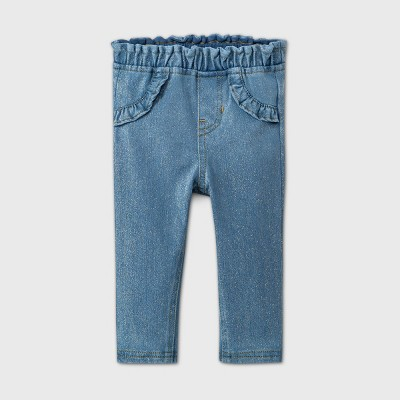 Baby Girls' Long Sparkle Jeans - Cat & Jack™ Blue 12M