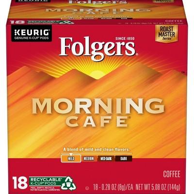 Folgers Morning Café Light Roast Coffee - Keurig K-Cup Pods - 18ct