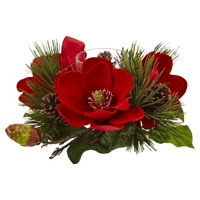 Red Magnolia and Pine Candelabrum - Red