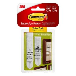 Command Medium and Large Sized Picture Hanging Strips (4 Sets of Medium/8 Sets of Large) White
