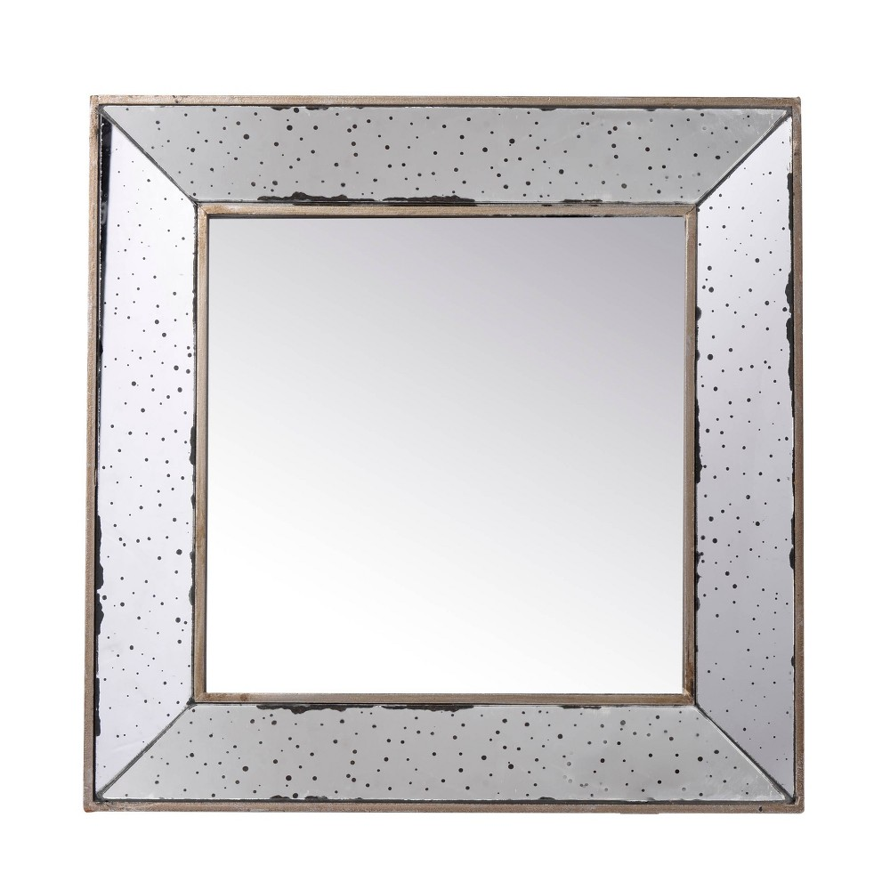"Image of ""18"""" Square Mirror Antique Silver - A&B Home, Silver Gray"""