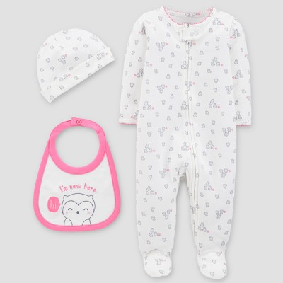 Baby Girls' Sleep N' Play, Hat and Bib Set - Just One You® made by carter's White Preemie