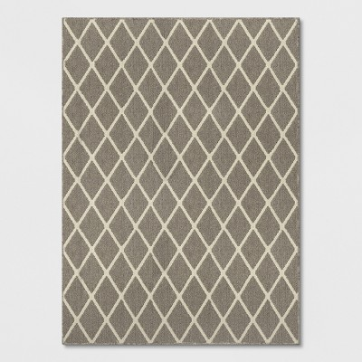 Warm Gray Diamond Tufted and Hooked Area Rug 5'X7' - Threshold™