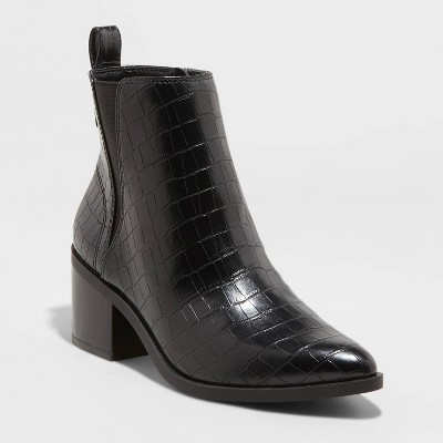 Women's Carolyn Block Heeled Chelsea Boots - A New Day™ Black 7.5
